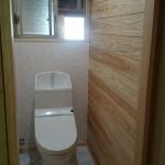 床は高級感のある大理石調のトイレ完成(^^)v